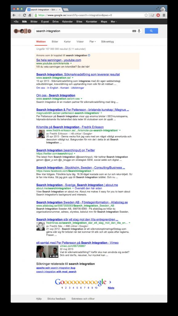 Search Integration sökresultat 2013-07-30