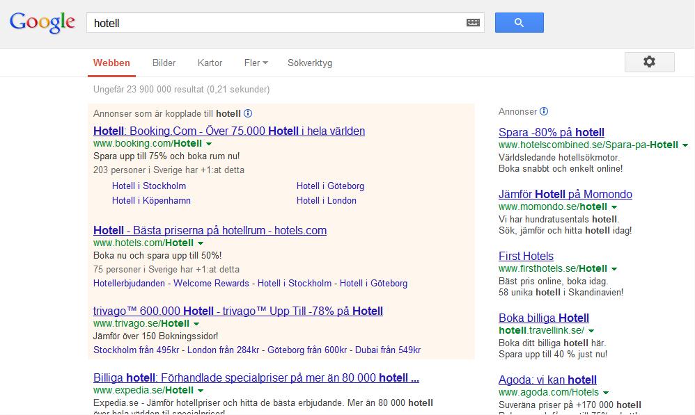 Google ads above the fold